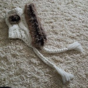 White Knit Fur Hat